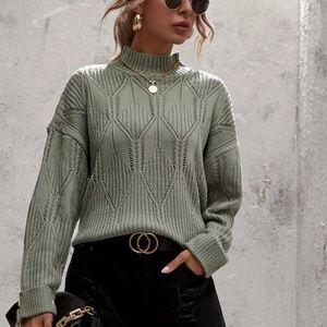 mock neck textured kni cuff sleeve sweater grey